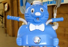 Lichtblauwe trapwagen